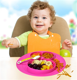 Hanchuan silicone baby placemat plate for kids, Easy to grasp, helps keep silicone sac and food clean.