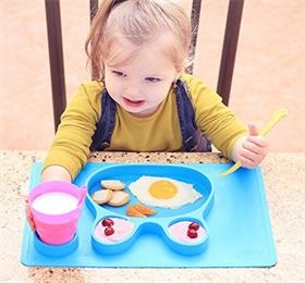 Silicone placemat+3 compartments plate for kids food+meal dining table feeding