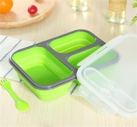 Enjoy your favorite lunch wherever you are with USSE 3 compartment silicone  folding lunch box!
