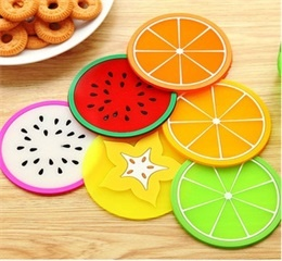 creative fruit shape silicone cup mat