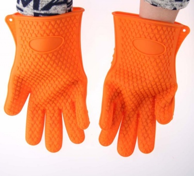 fda approved silicone grilling gloves with inner cotton layer