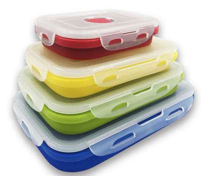 food grade silicone collapsible bento lunch boxes