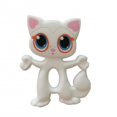 non-toxic BPA free hot sell baby silicone cat teether