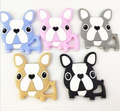 100% organic silicone dog shaped baby teether