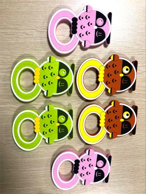 New Design Custom Animal Cute Owl Food Grade BPA Free Soft Silicone Baby Teether