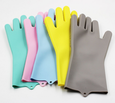 BBQ Baking Oven Gloves Brush Scrubber Glove Magic Silicone Gloves