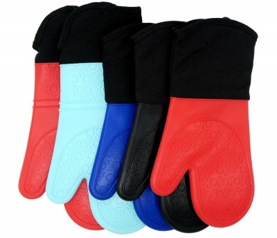 Extra Long Heat Resistant Silicone Kitchen Oven Gloves With Cotton Cloth Inside