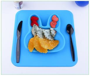 silicone rabbit shape placemat multicolor for kds