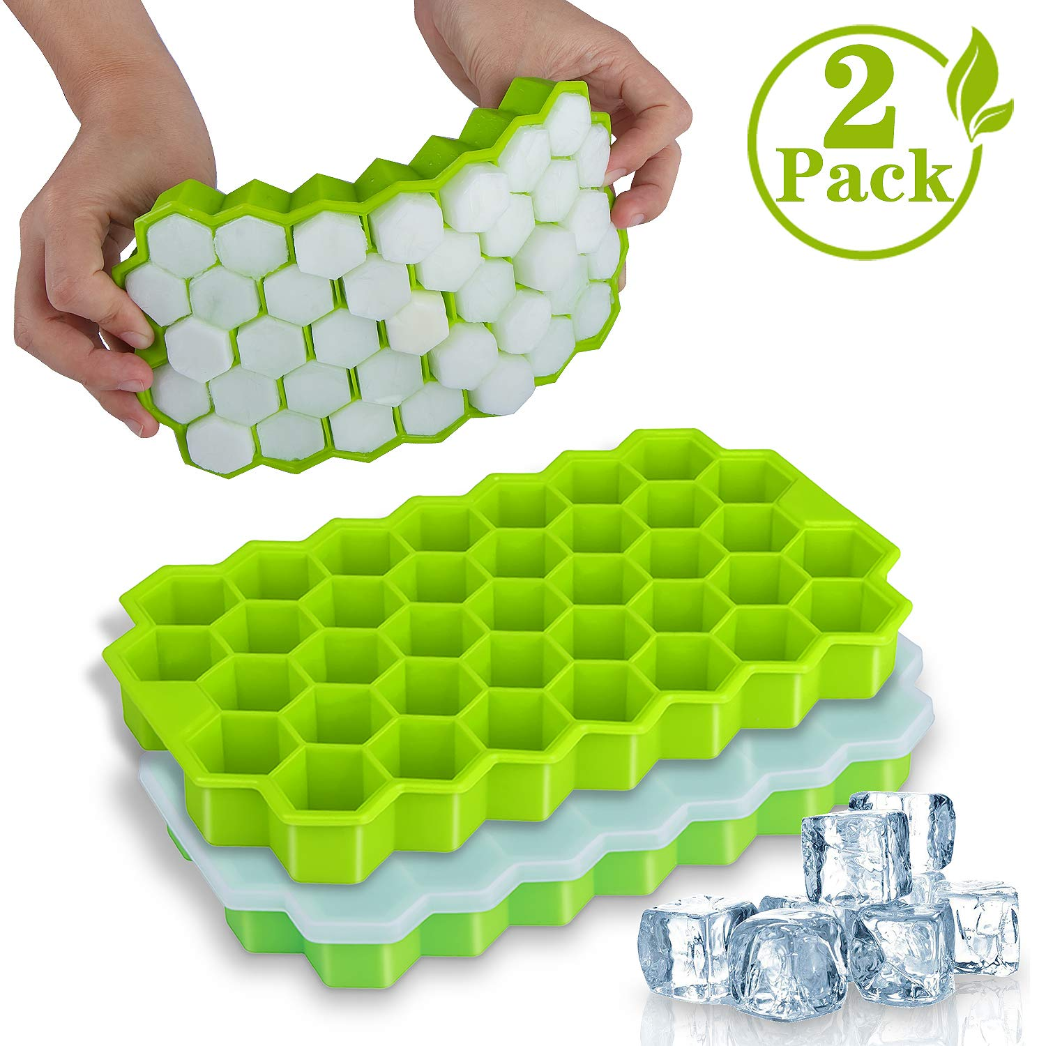 USSE Ice Cube Trays, BPA Free Silicone Ice Cube Molds with Lid for Whiskey, Cocktail
